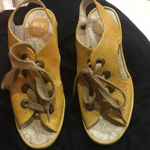 Mustard Yellow Fly London Lace up Wedges!!